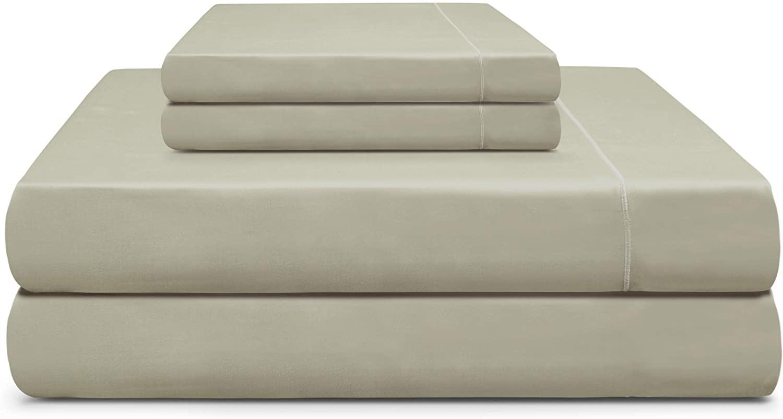 Adriana Tivoli 100% Pima Cotton Wrinkle Resistance 600TC Green Queen Size Sheet Set Extra-Long Staple Pima Cotton 18