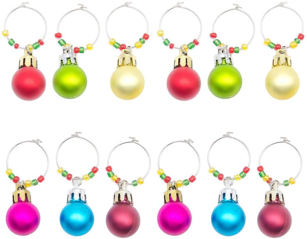 Hemoton 12pcs Wine Glass Ring Charms Christmas Wine Glass Tags Markers Holiday Champagne Cocktails Drink Identifier Recognizer for Xmas Party Favor (Mixed Colors)
