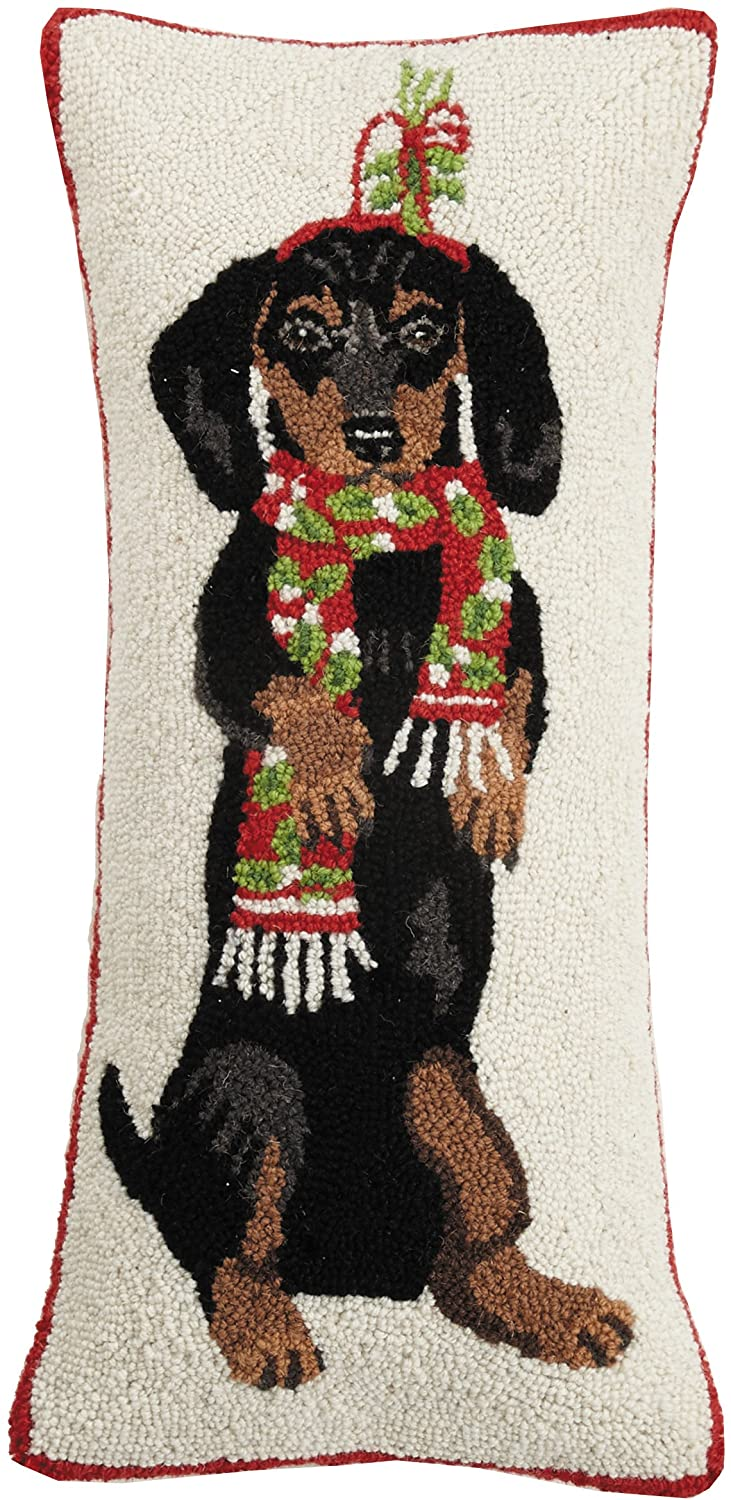 Mary Lake Thompson Dachshund with Scarf Hook, 12x26 Holiday Pillow