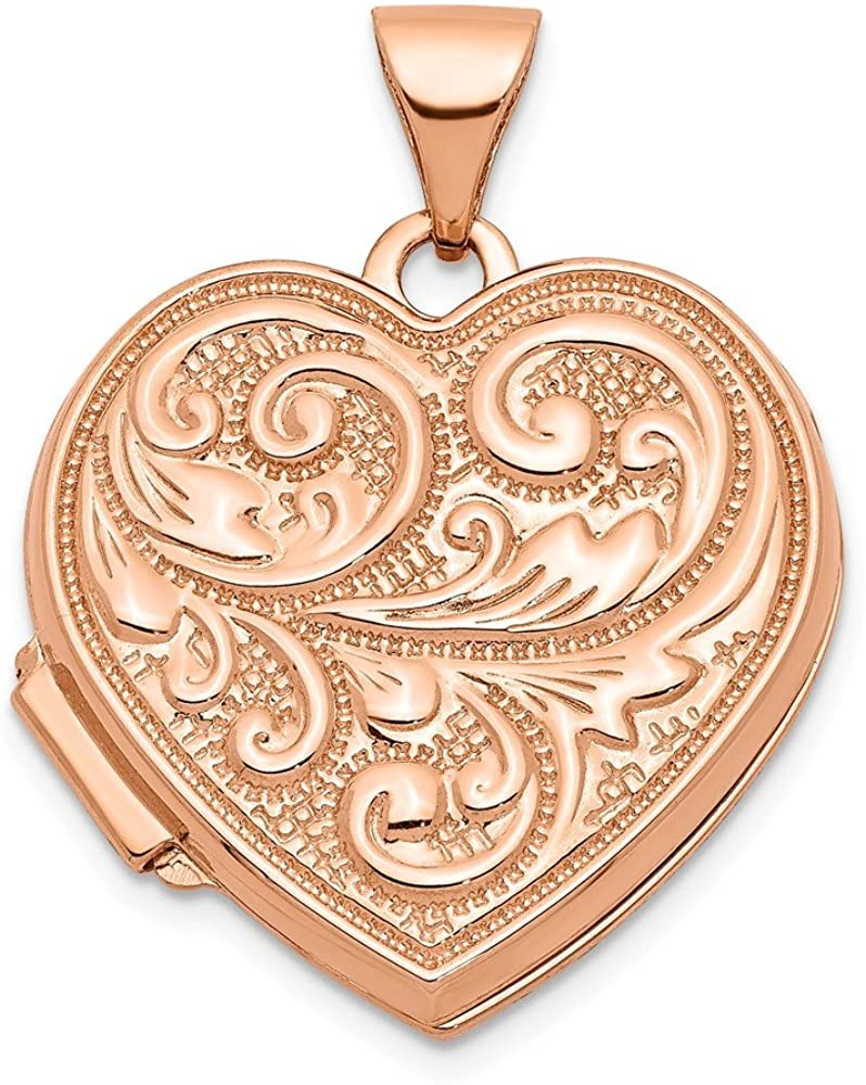 14k Rose Gold 18mm Scrolled Love You Always Heart Photo Pendant Charm Locket Chain Necklace That Holds Pictures Fine Jewelry For Women Gifts For Her