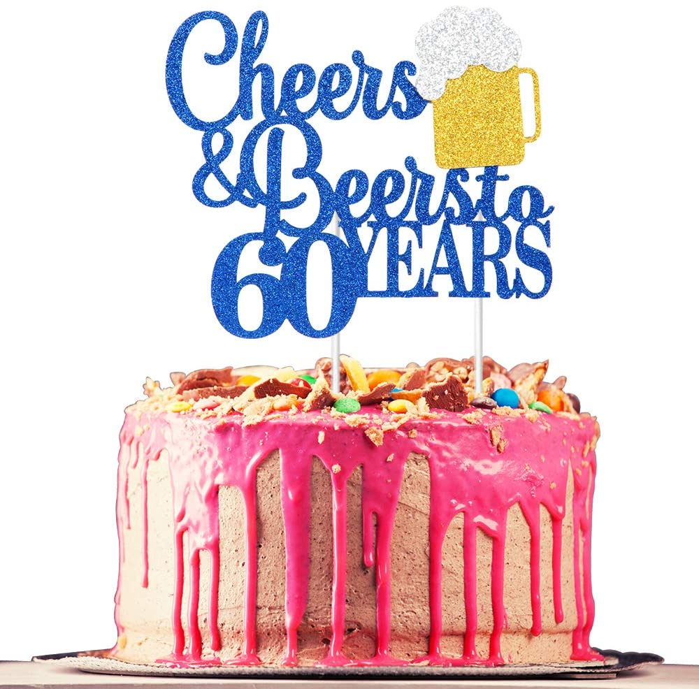 Cheers & Beers to 60 Years Cake Topper, Happy 60th Birthday or 60th Anniversary Cake Topper, 60th Birthday or 60th Anniversary Party Supplies, Royal Blue