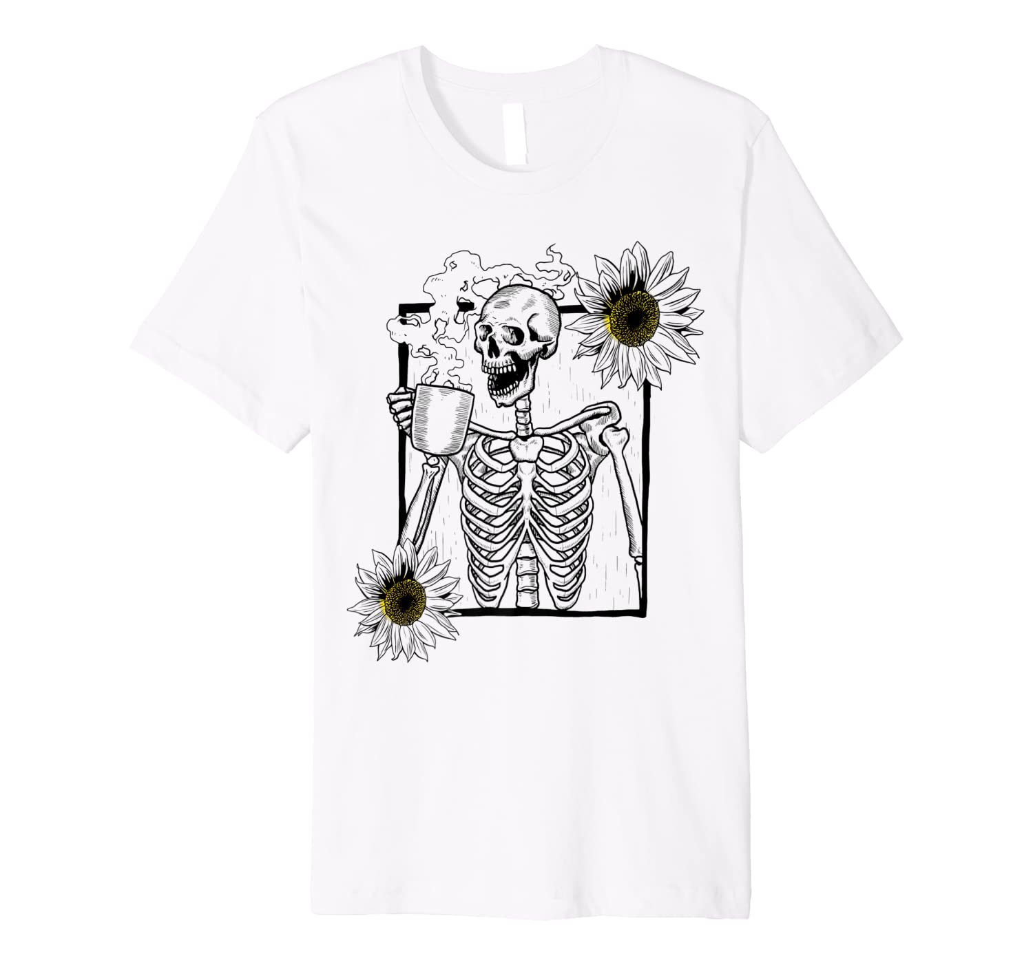Vintage Skeleton Sunflower Picture Smiling Skull with Coffee Premium T-Shirt