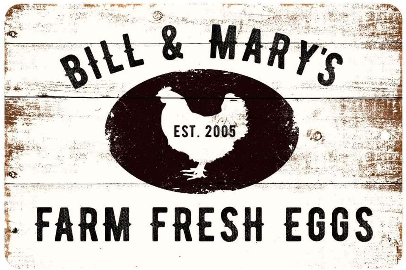 MAIYUAN Personalized Farm Sign, Farm Fresh Eggs Metal Sign,8
