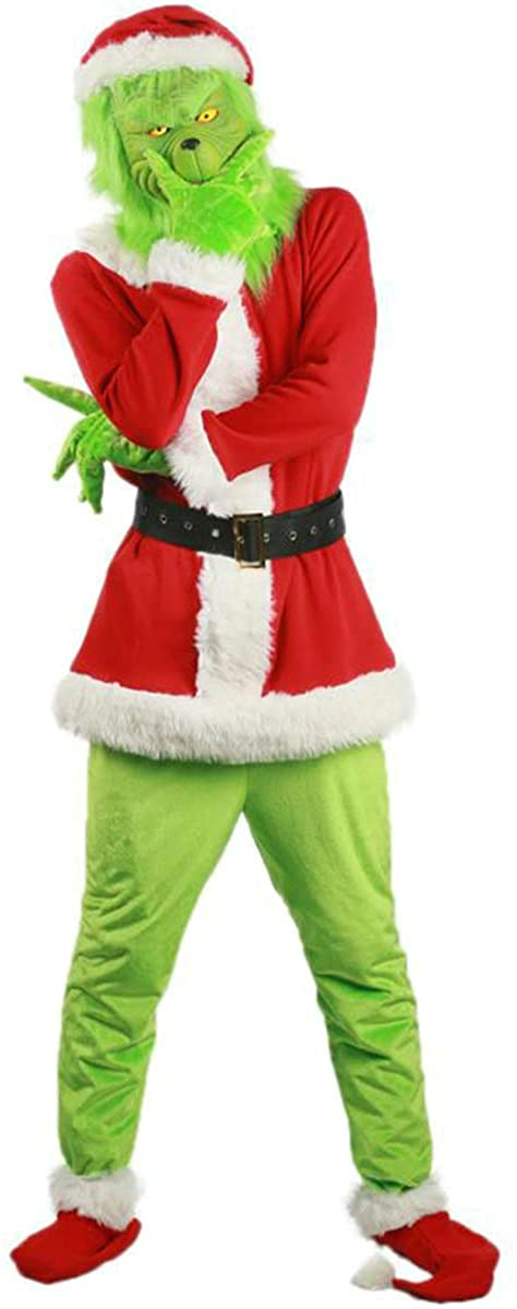 Santa Claus Suit Plush Adult Costumes with Green Funny Mask Christmas Hat Gloves 9Pcs