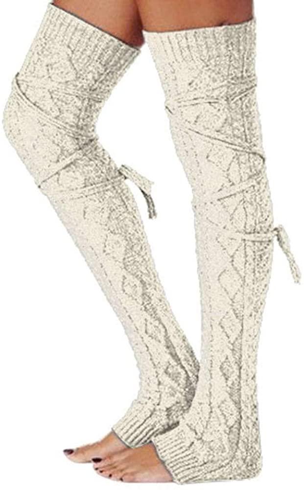 Womens Winter Leg warmers Long Boot knitted Crochet Socks Over Knee socks