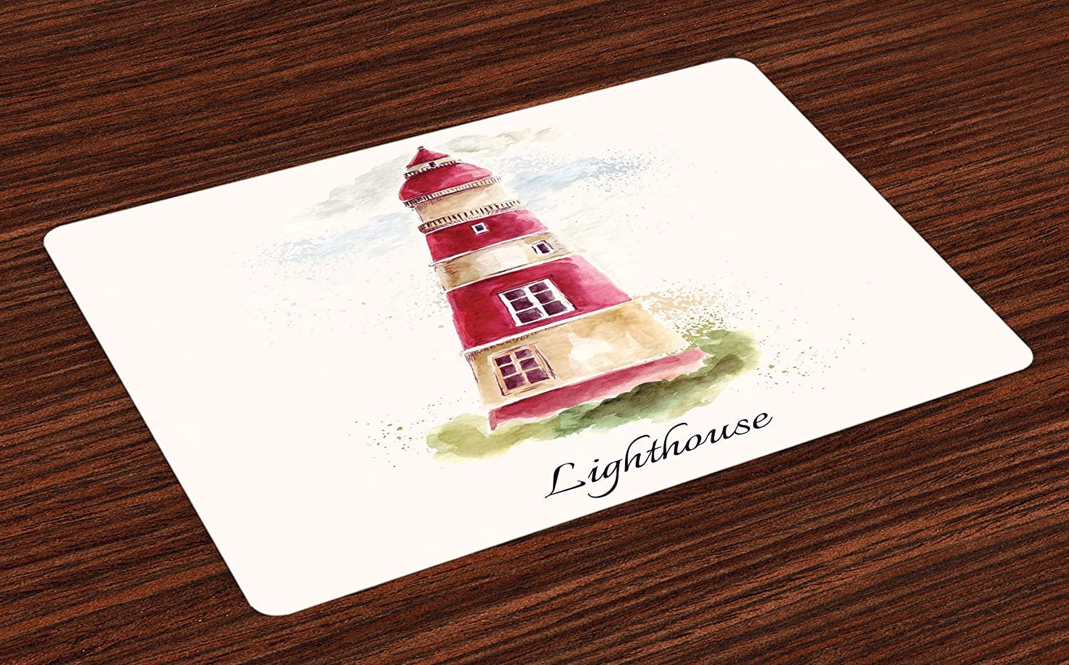 Ambesonne Lighthouse Place Mats Set of 4, Watercolor Lighthouse Print Pastel Faded Vintage Lettering Windows Grass Clouds, Washable Fabric Placemats for Dining Room Kitchen Table Decor, Multicolor