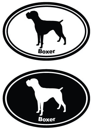 Boxer in Ovals, Vinyl Car Decal, White', 5-by-5 inches'