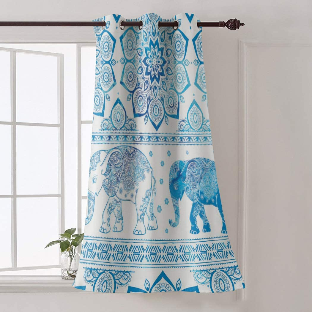 Red Vow Window Treatment Curtain 84 Inch Length - Chic Window Drapes Panel for Living Room Bedroom - Retro Mandala Elephant Ethnic Art Patterned Polyester Fabric Draperies