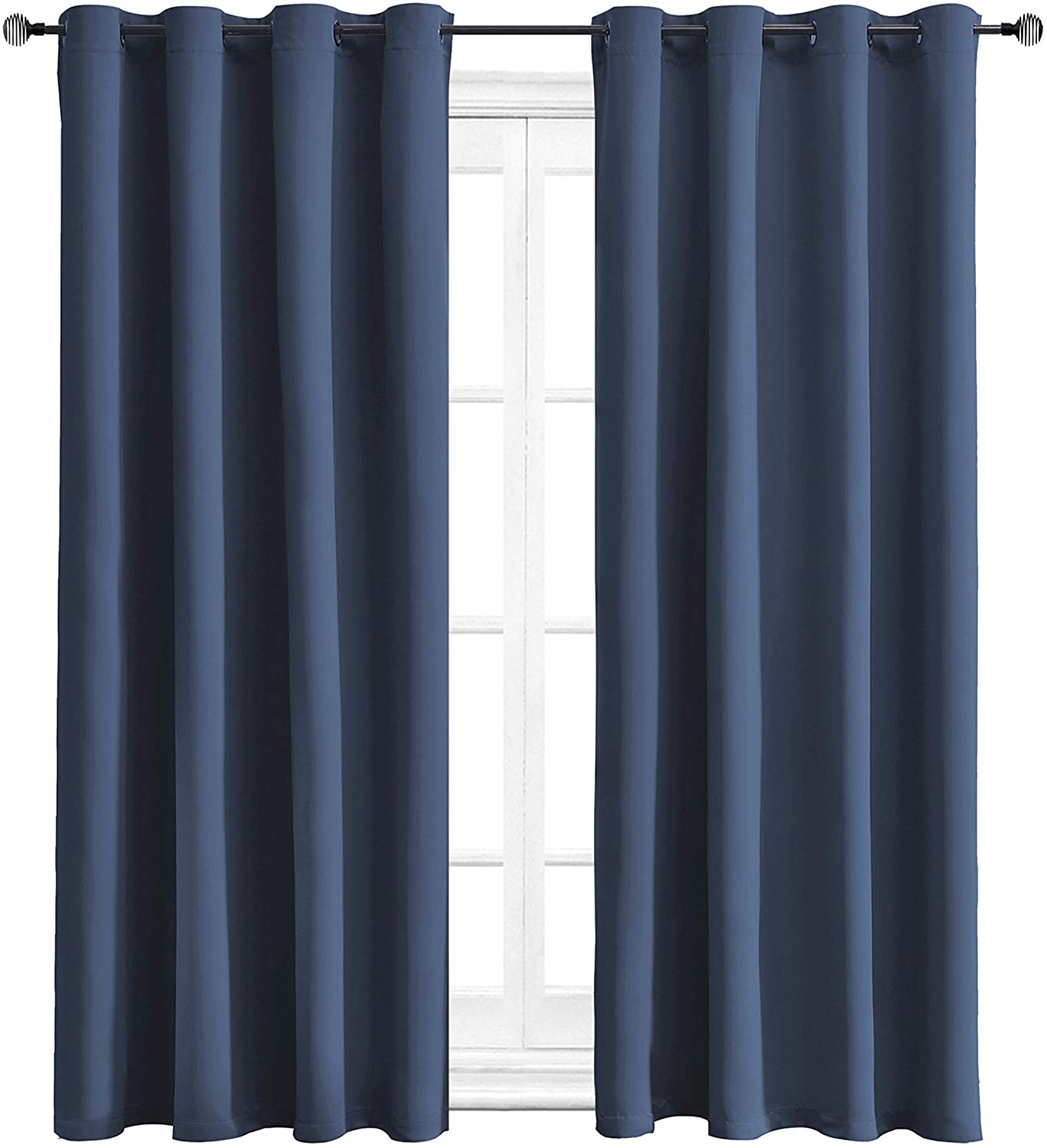WONTEX Blackout Curtains Room Darkening Thermal Insulated with Grommet Window Curtain for Living Room, 52 x 54 inch, Navy, 2 Panels