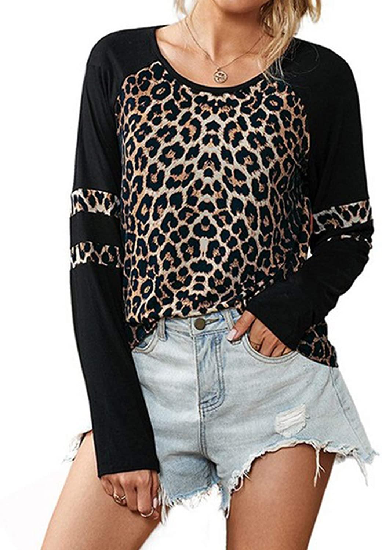 Womens Leopard Print Tops Patchwork Raglan Long Sleeve Casual Basic Shirts Soft Slim Tunics Top