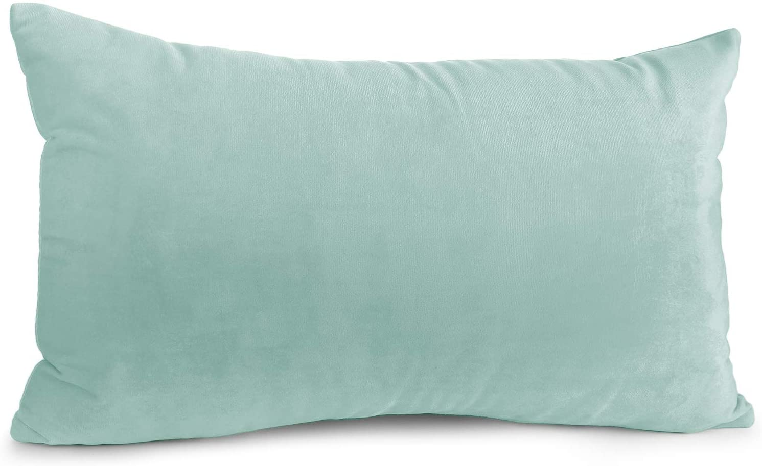 Nestl Bedding Throw Pillow Covers, Cozy Velvet Decorative Pillow Covers 12x20 Inches, Soft Solid Couch Pillow Covers for Sofa, Bed and Car - Mint