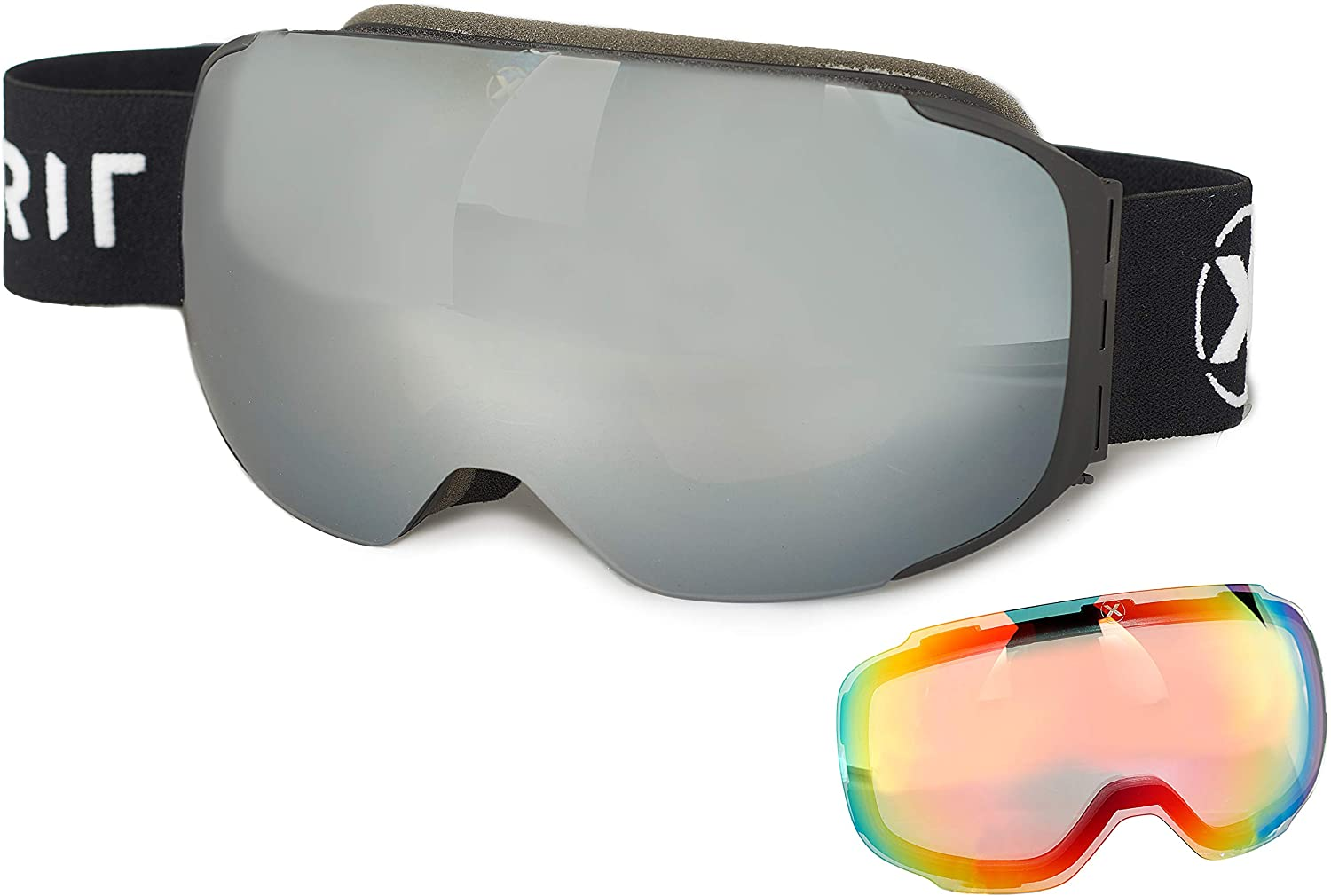 XPIRIT Ski & Snowboard Goggles Men & Women - 100% UV Protection, Anti-Fog & Anti-Scratch - Over-The-Glasses Design, Interchangeable Magnetic Dual Layers Lens - 2 Pairs of Lenses