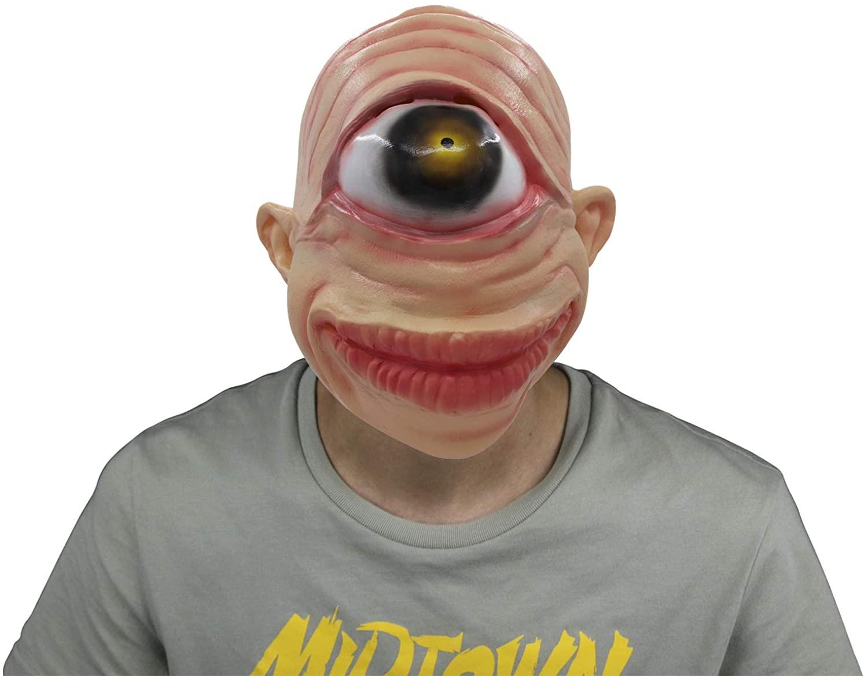 Halloween UFO Alien Head Mask Party,Latex Novelty One Big Eye Costume Creepy Geezer,Halloween Cosplay Party(One eye)