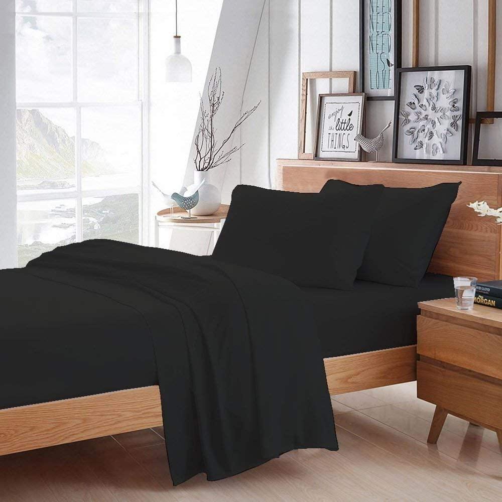 VGI Linen 100% Heavy Egyptian Cotton 1800-TC Hotel Luxury 4-PCs Sheet Set Short Queen Size 4 Piece Set Fits Mattress 15-18'' Deep Pocket (Solid, Black)