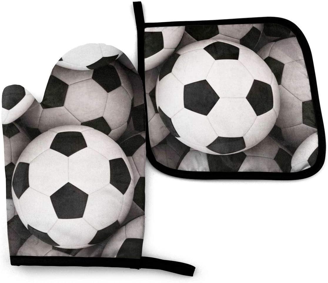 Antvinoler Soccer Ball Oven Mitts and Potholders (2-Piece Sets) Professional Heat Resistant Pot Holder & Baking Gloves