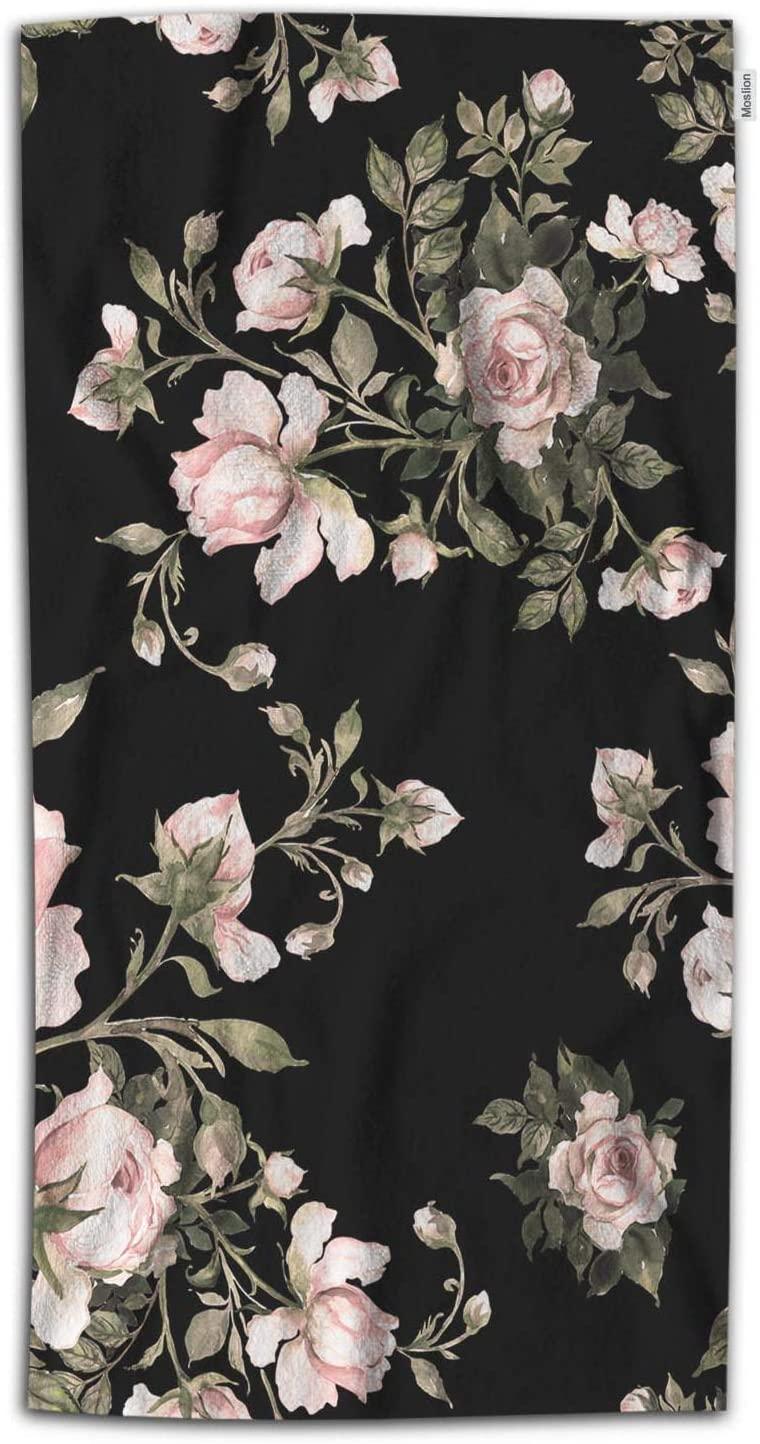 Moslion Floral Bath Towel Vintage Bouquet of Love Rose Flower Bud Leaf Towel Soft Microfiber Baby Hand Beach Towel for Kids Bathroom 32x64 Inch Black Pink Green