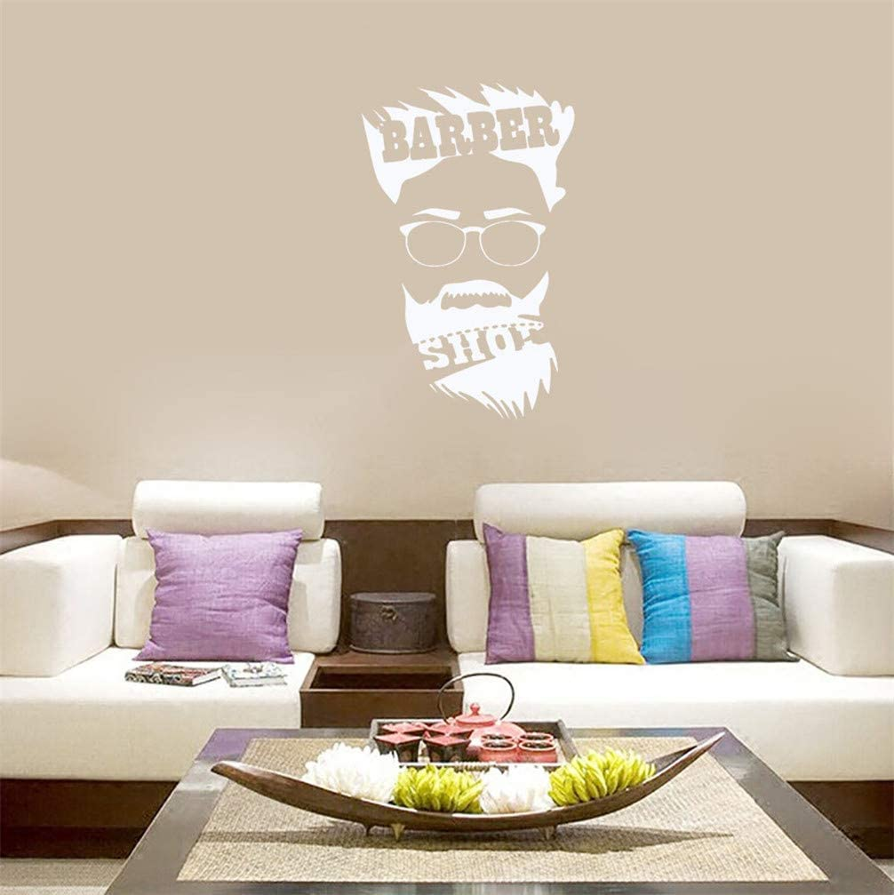 WANLING Wall Sticker White Barbershop Haircut Man Wall Decal Removable PVC Decoration for Home Hair Salon Barbershop Decor