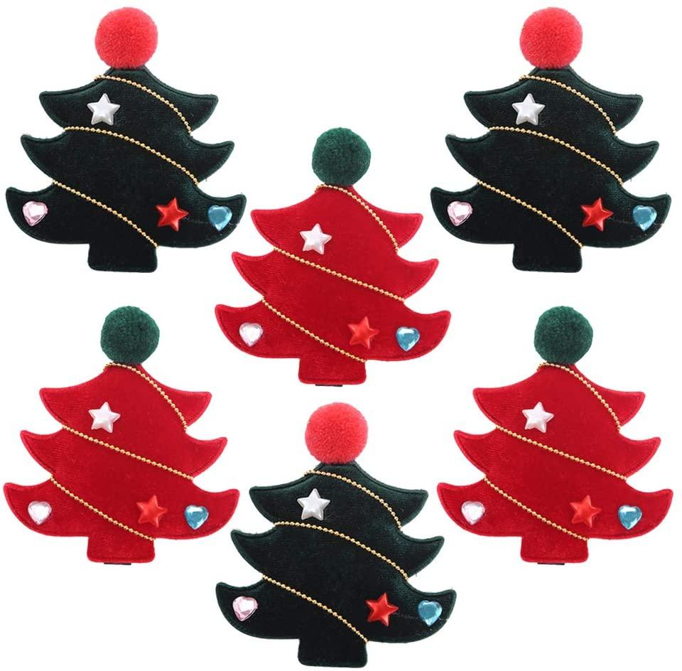 Amosfun 6PCS Christmas Hair Clip with Pom Pom for Girls Christmas Tree Hair Accessories