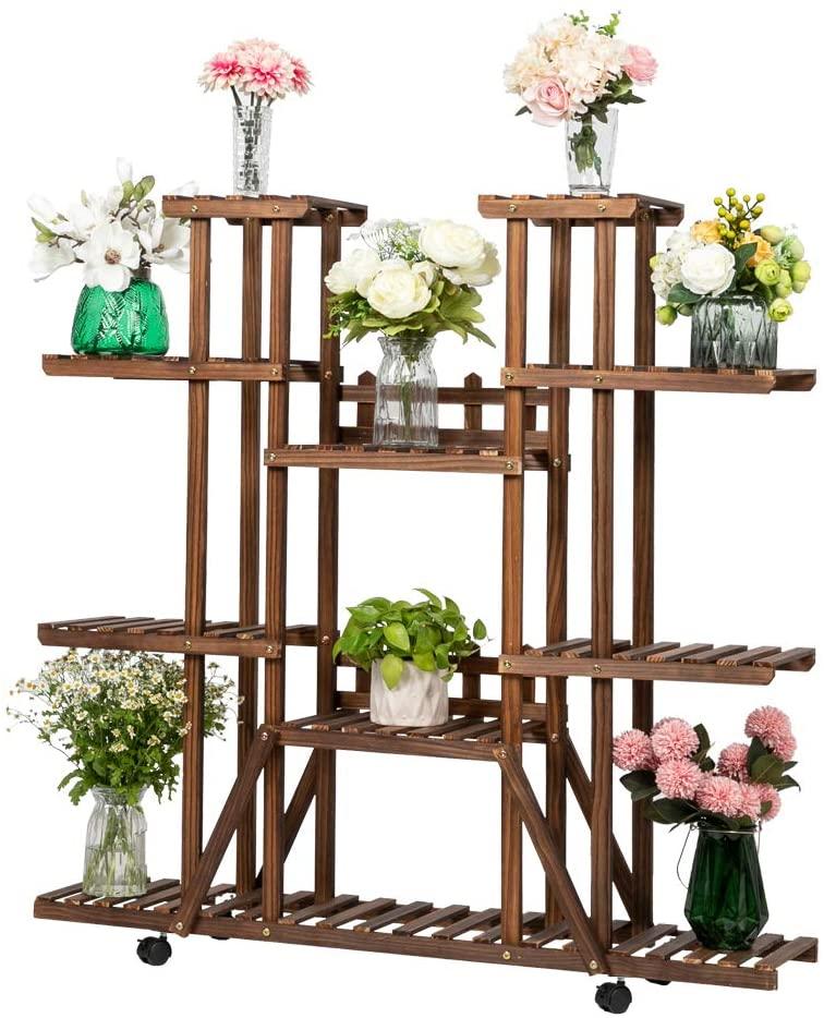 JOYBASE Wood Plant Stand with Wheels, Garden Plant Rack Outdoor, Multi-Functional Storage Display Rack (6 Floor 11 Seat & Wheels)