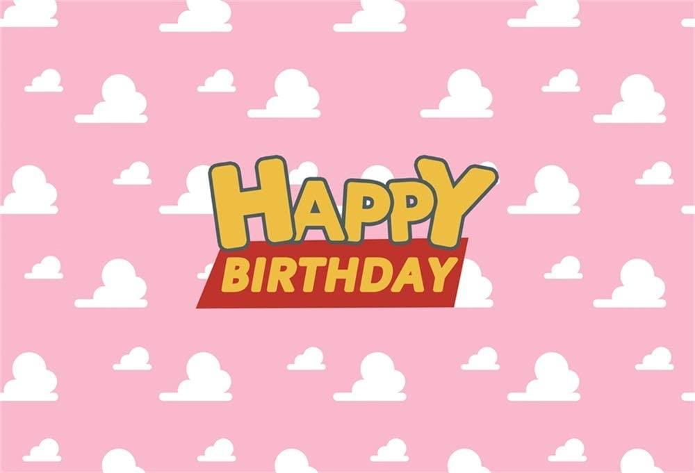 Baocicco 8x6.5ft Cartoon Happy Birthday Backdrop Girls Birthday Party Backdrop Girls Birthday Backdrop for Photography Background Pink Sky White Cloud Photo Shooting Booth Photo Studio Video Props