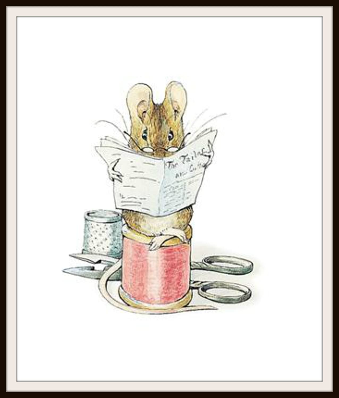 Beatrix Potter Tailor of Gloucester, Vintage Art Print Reproduction, Nursery, Baby Room, Shower Gift 8 x 10