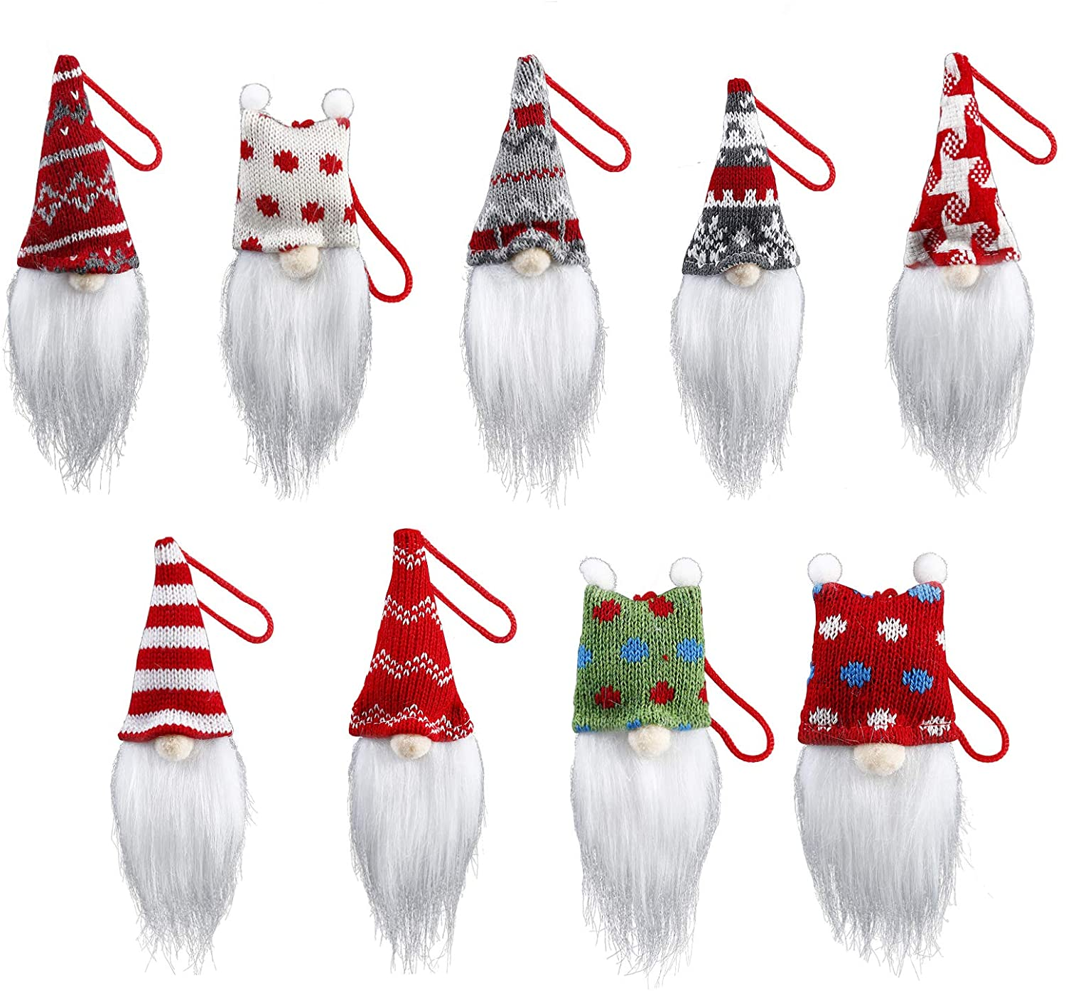 ISWAKI Gnome Christmas Ornaments Set of 9,Christmas Ornaments Xmas Tree Gifts Christmas Decor Hanging Decorations Ornaments