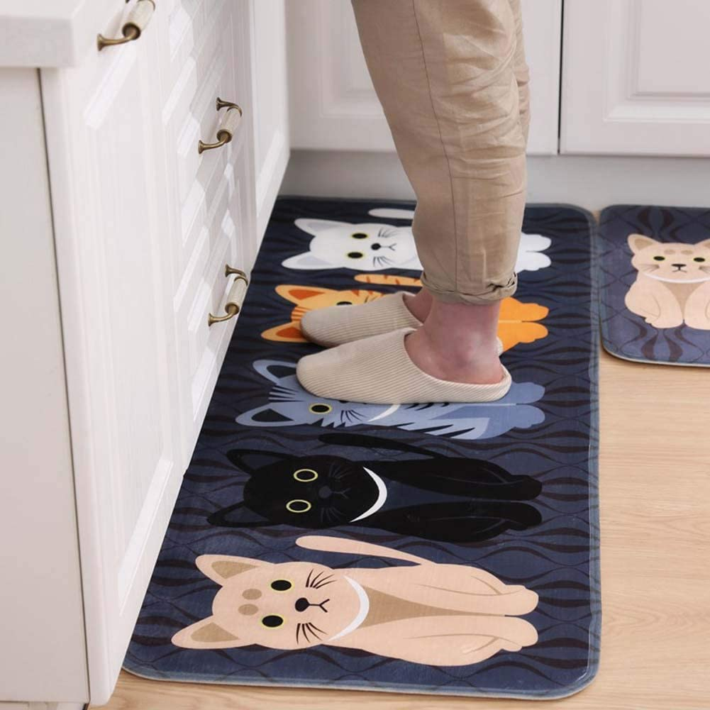 HOUTBY Extra Long Cartoon Floor Mat Flannel Kitchen Bathroom Absorbent Non Slip Bath Rug, Cats