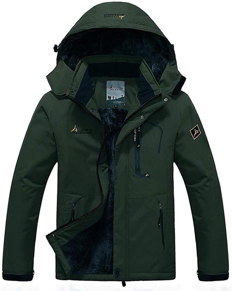Cbyezy Men's Mountain Waterproof Ski Jacket Windproof Rain Jacket Winter Warm Snow Coat with Removable Hood