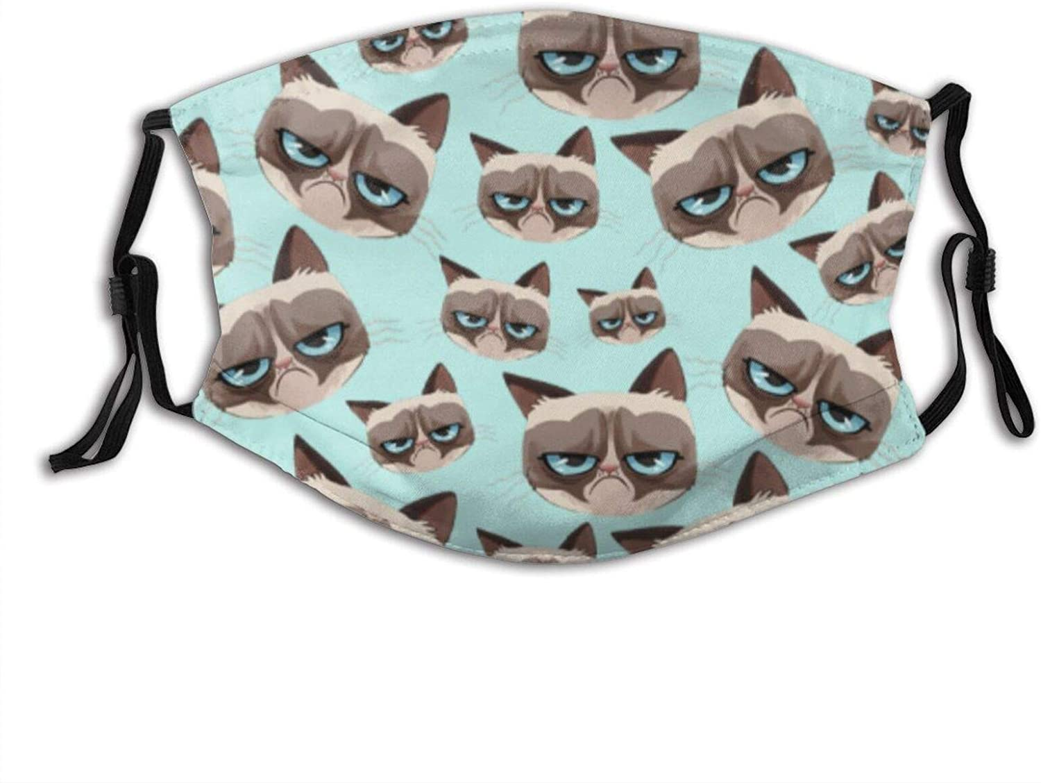 Grumpy Cat Heads Face Mask With Filter Pocket Washable Reusable Face Bandanas Balaclava With 2 Pcs Filters