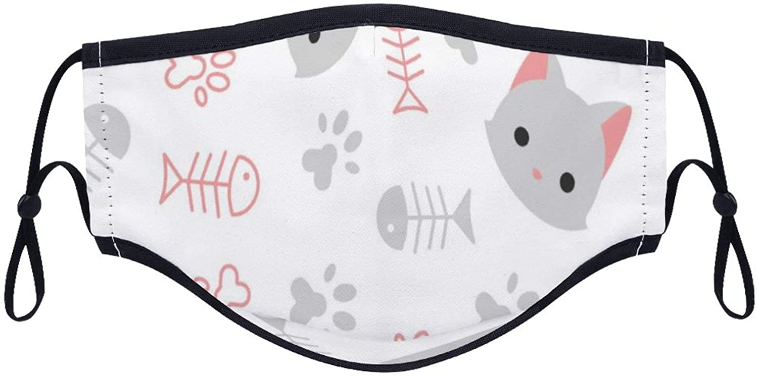 Cat Pattern Mouth-mask with 2PC Insert Pad Reusable Washable Fashion Printed Anti-dust Face Breathable Dust-Proof Scarf for Women Men