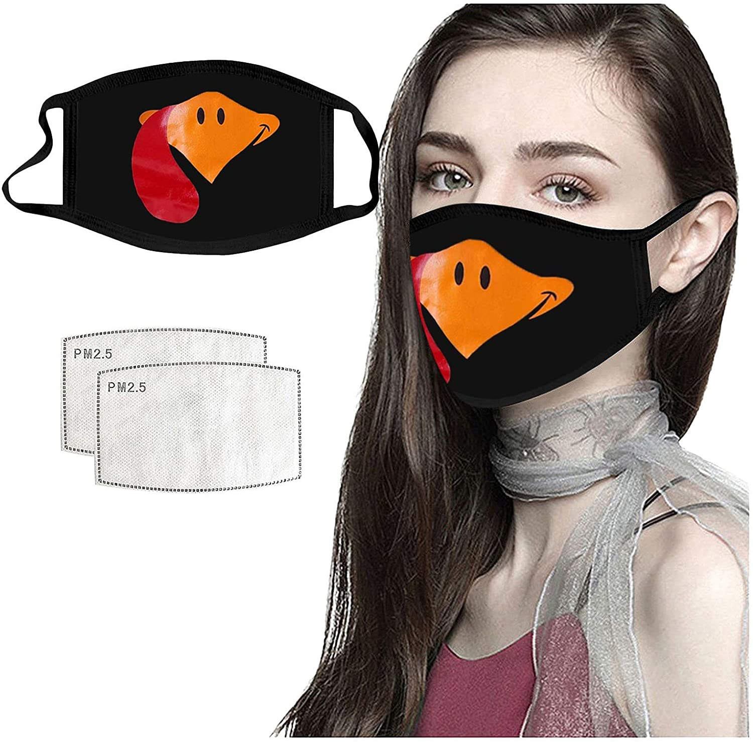 Fuachy 1PC+2Filters Adults Thanksgiving Day Printed Reusable Washable Breathable Face Protective Bandanas Outdoor Work