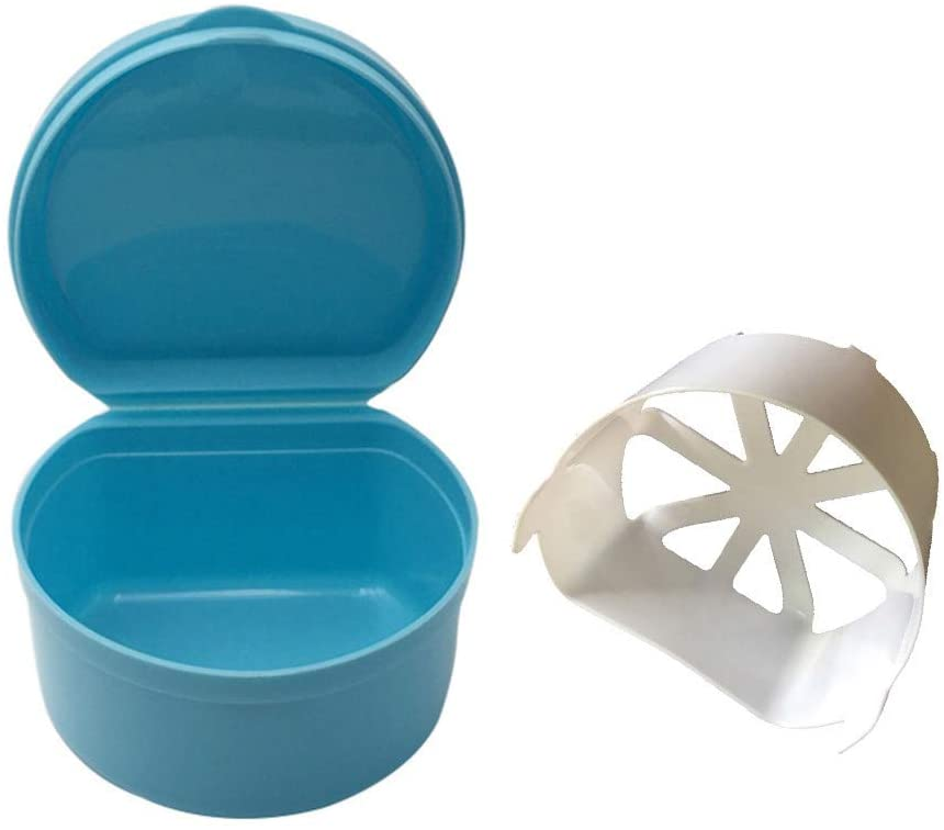 Cleaning Supplies, Denture Bath Box Case Dental False Teeth Storage Box with Hanging Net Container