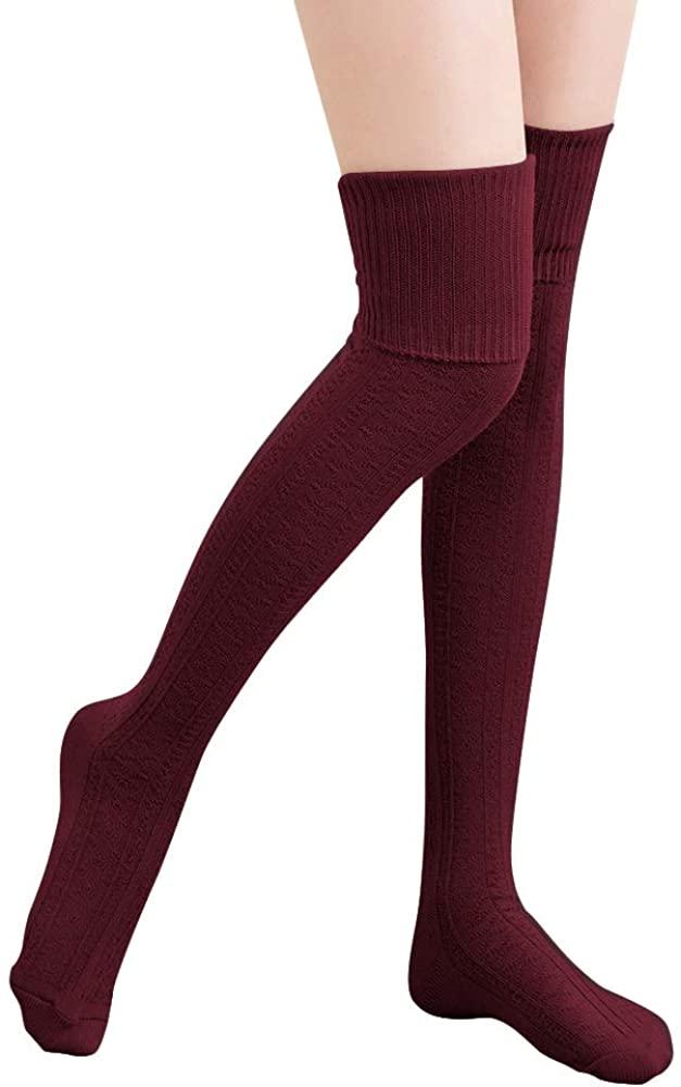 HITOP Thigh High Over Knee Socks for Women Girl,Winter Warm Crochet Long Socks Leg Warmer Leggings