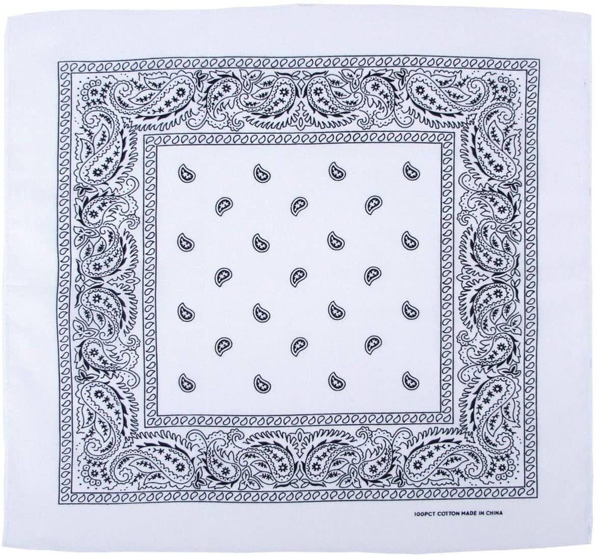 MFH Max Fuchs bandana. cotton. 55 x 55 cm. white-black