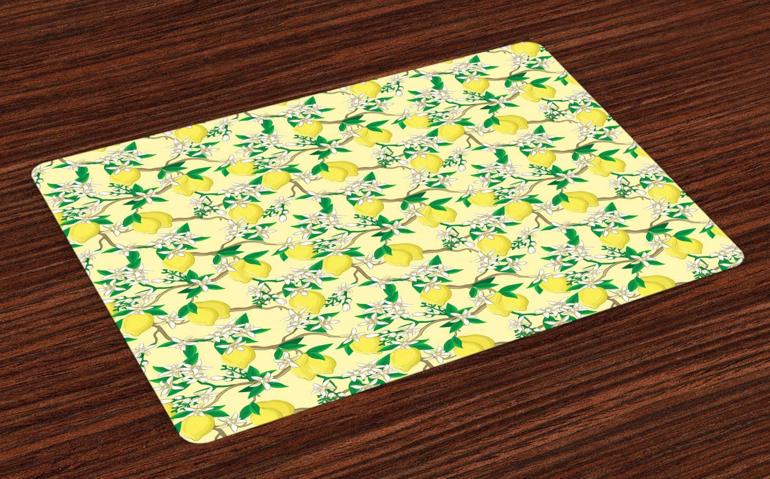 Ambesonne Lemons Place Mats Set of 4, Blooming Lemon Flowers on Tree Branches with Buds and Ripe Fruits, Washable Fabric Placemats for Dining Room Kitchen Table Decor, Yellow Fern