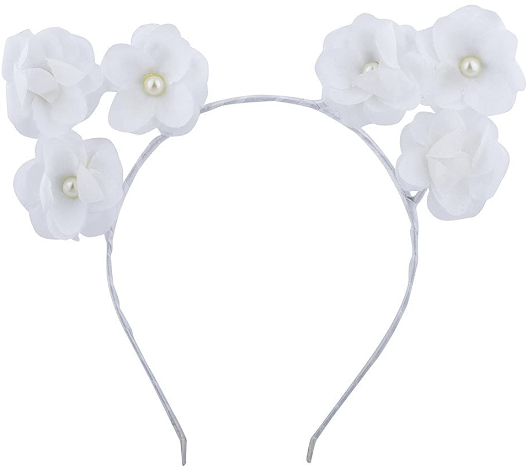 Lux Accessories Girls Cat Ears Costume Floral Accessory Headband Adults