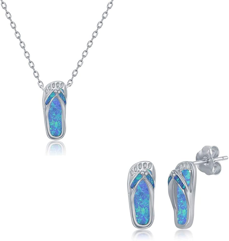 Created Blue Opal Palm-Tree/Dolphin/Starfish/Turtle/Crab/Whale-Tail/Flip-Flop/Waves/Shell Nautical Necklace and Earrings Set Sterling Silver with 6+2'' Chain Jewelry for Women or Teens