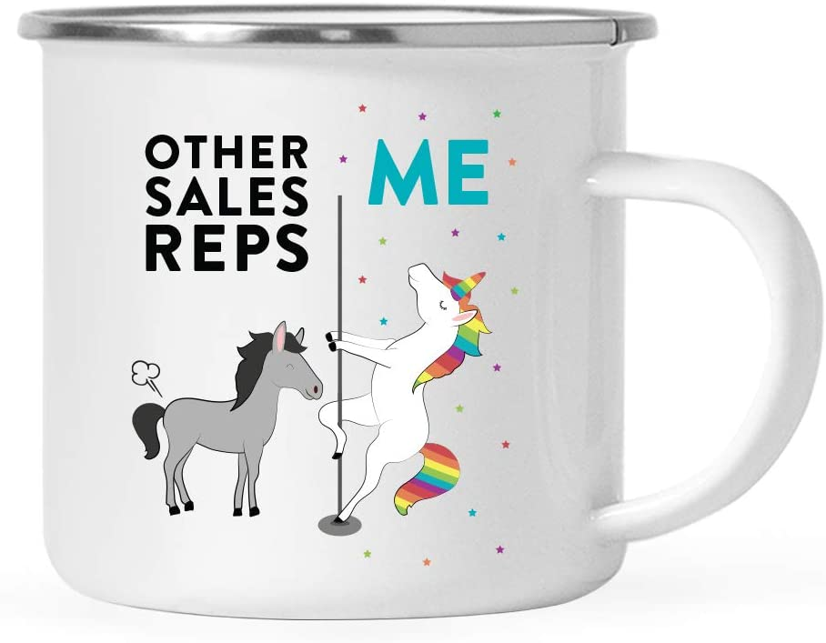 Andaz Press Funny Quirky 11oz. Stainless Steel Campfire Coffee Tea Mug Thank You Gift, Other Sales Reps Me, Horse Unicorn, 1-Pack