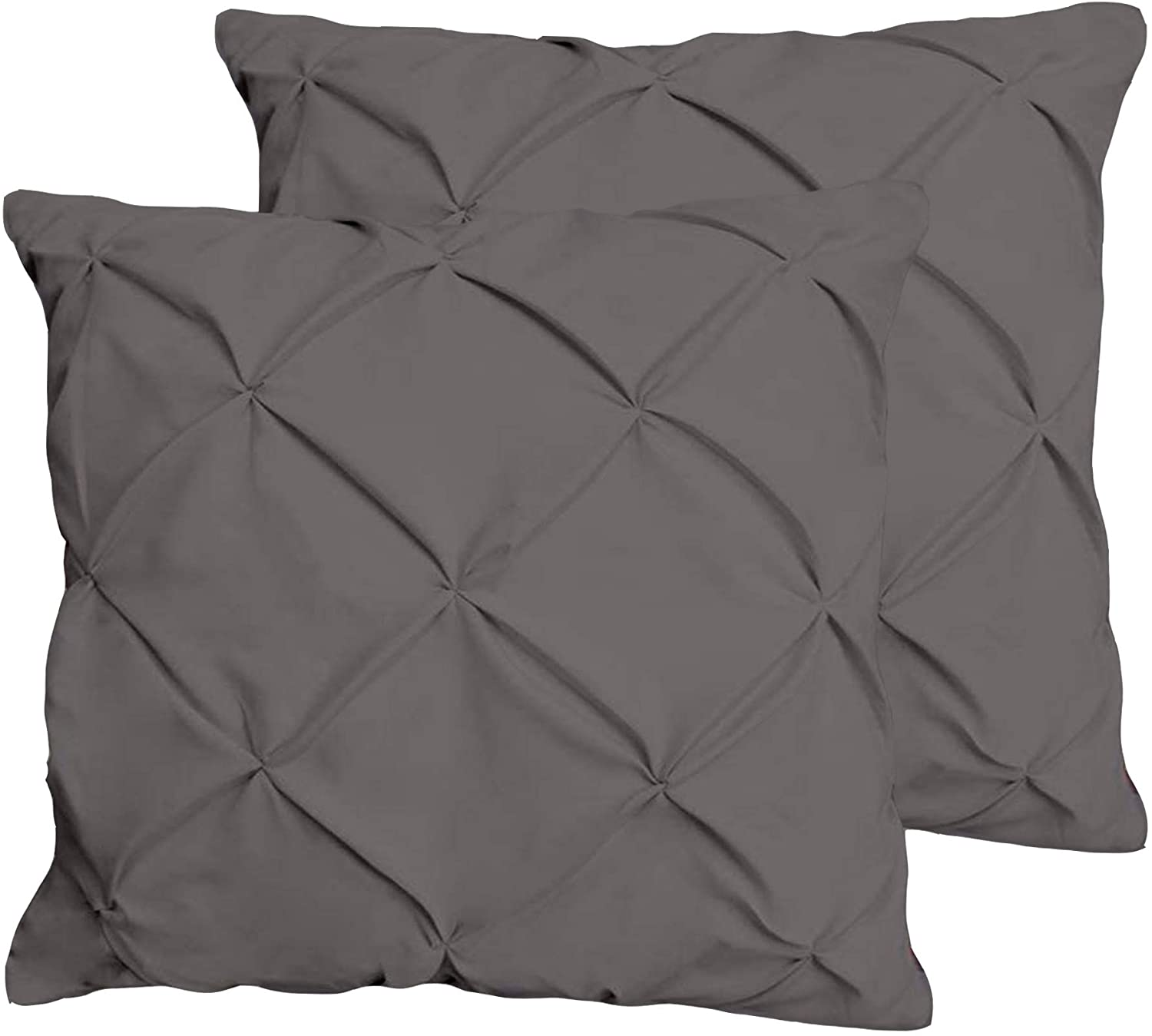 JBD LINEN Pinch Pleated Pintuck Design Throw Pillow Sized 14 x 14 inch Cushion Cover Set of 2 Piece, 800 Thread Count 100% Egyptian Cotton Dark Grey Solid