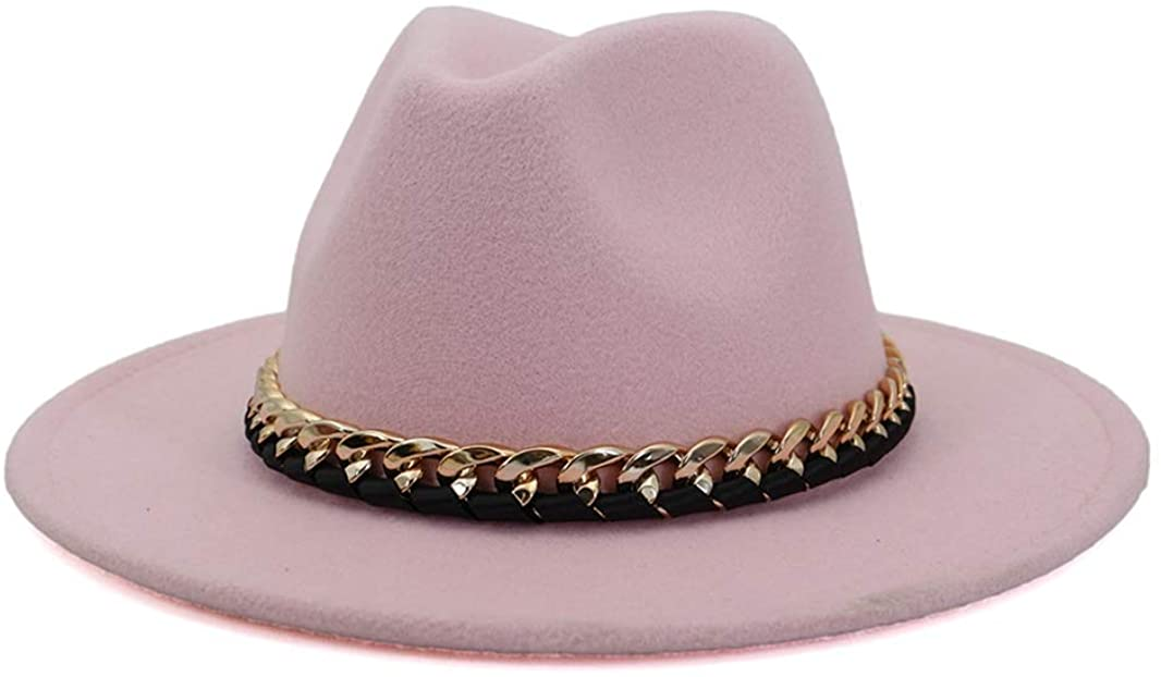Women Lady Retro Wide Brim Floppy Panama Hat Metal Belt Buckle Felt Fedora Hat Chic Vintage Jazz Cap