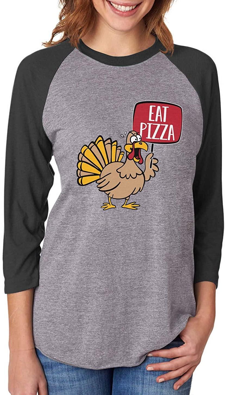 Save a Turkey Eat Pizza Thanksgiving 3/4 Women Sleeve Baseball Jersey Shirt