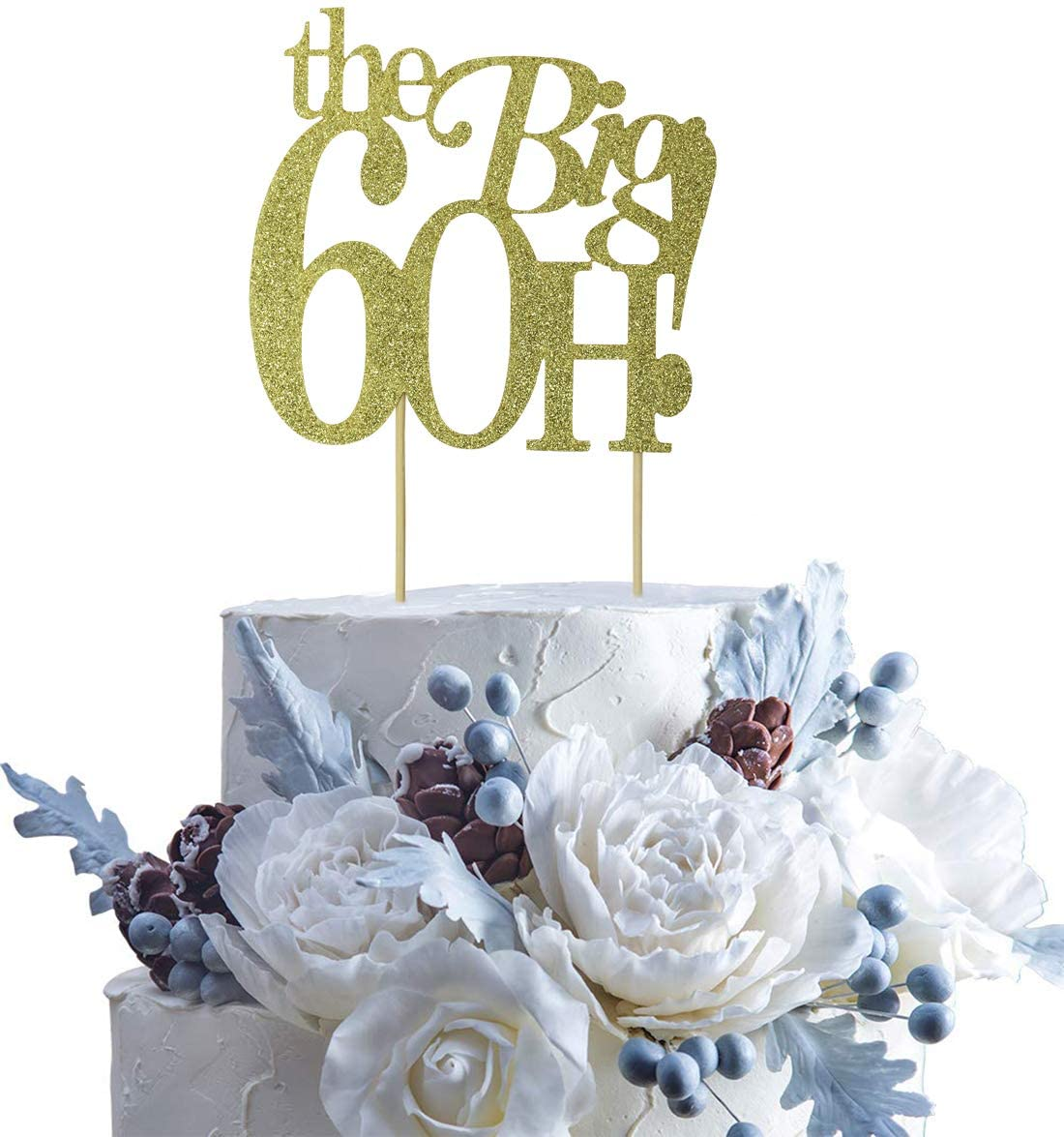 Guoguoxia Gold Glitter The Big 60H Cake Topper 60 & Fabulous Cake Topper - 60th Birthday Party Decoration Sign - Adult Birthday Party Supplies (Gold 60)