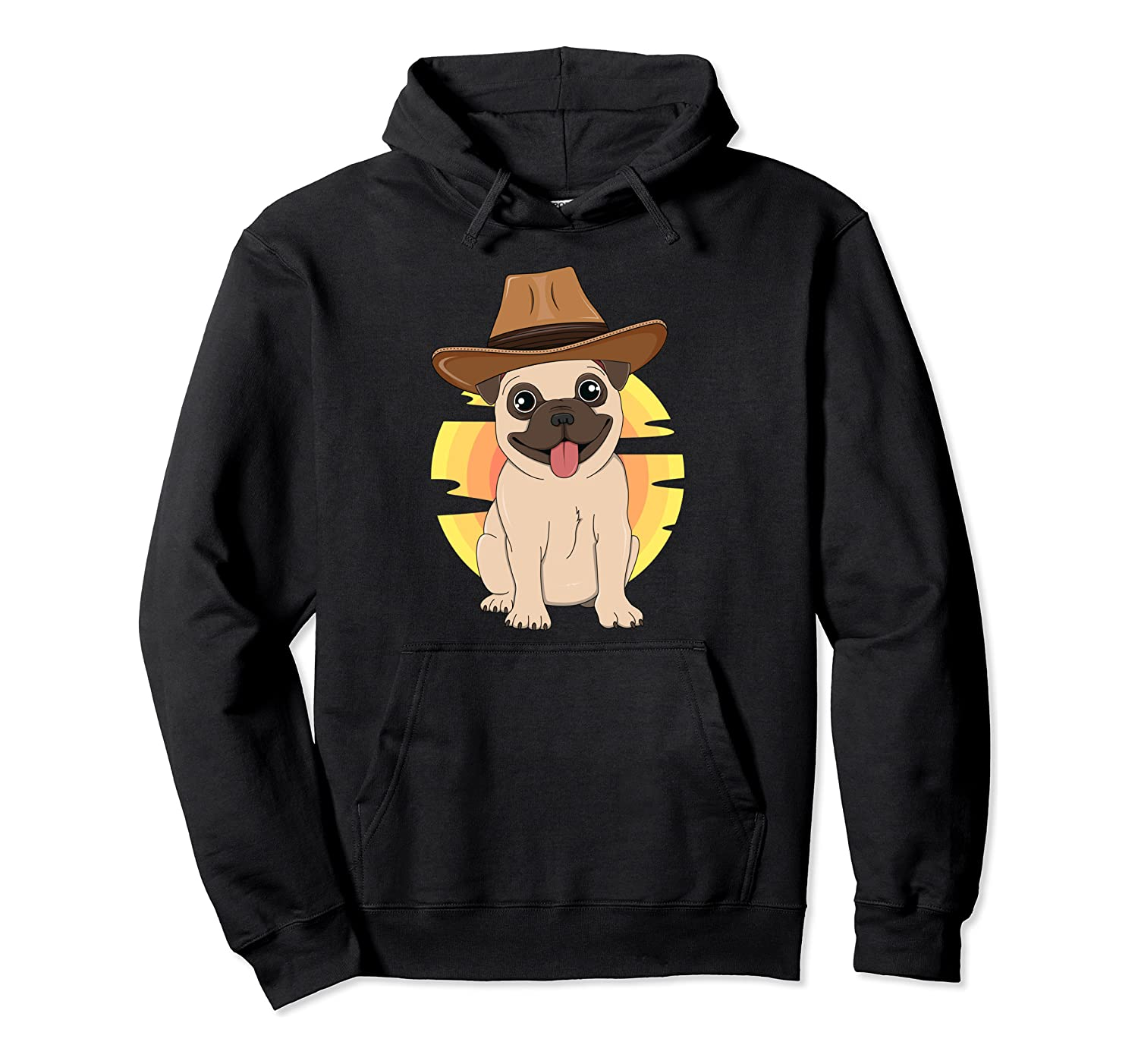Western Pug Dog Texas Rodeo South Kids Country Boys Girls Pullover Hoodie