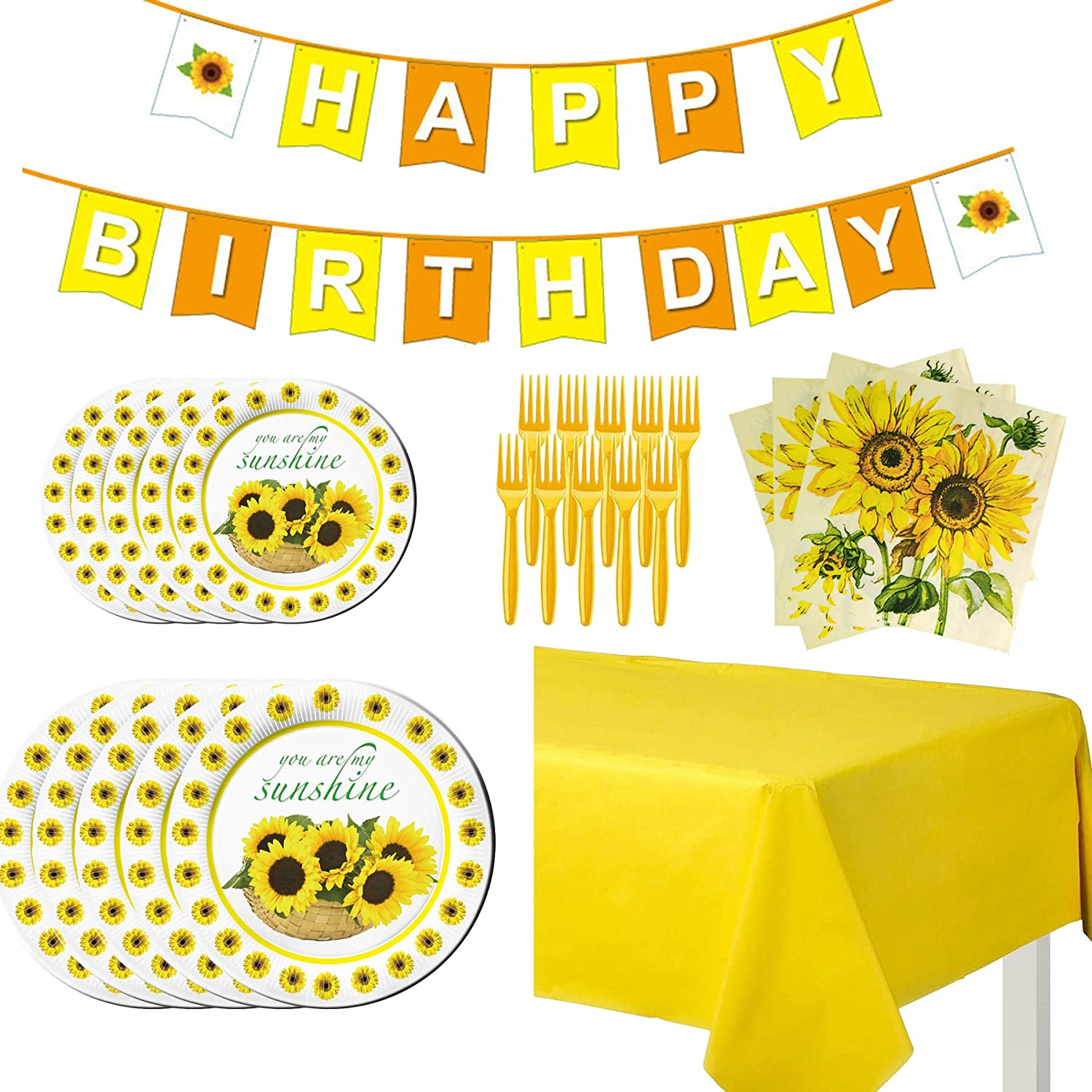 Sunflower Party Supplies Party Favors Sunflowers Birthday Party Decorations for 10 Guests, Including Disposable Paper Plates, Banner, Napkins, Forks and Tablecloths Pack Set for Kids Boy and Girls