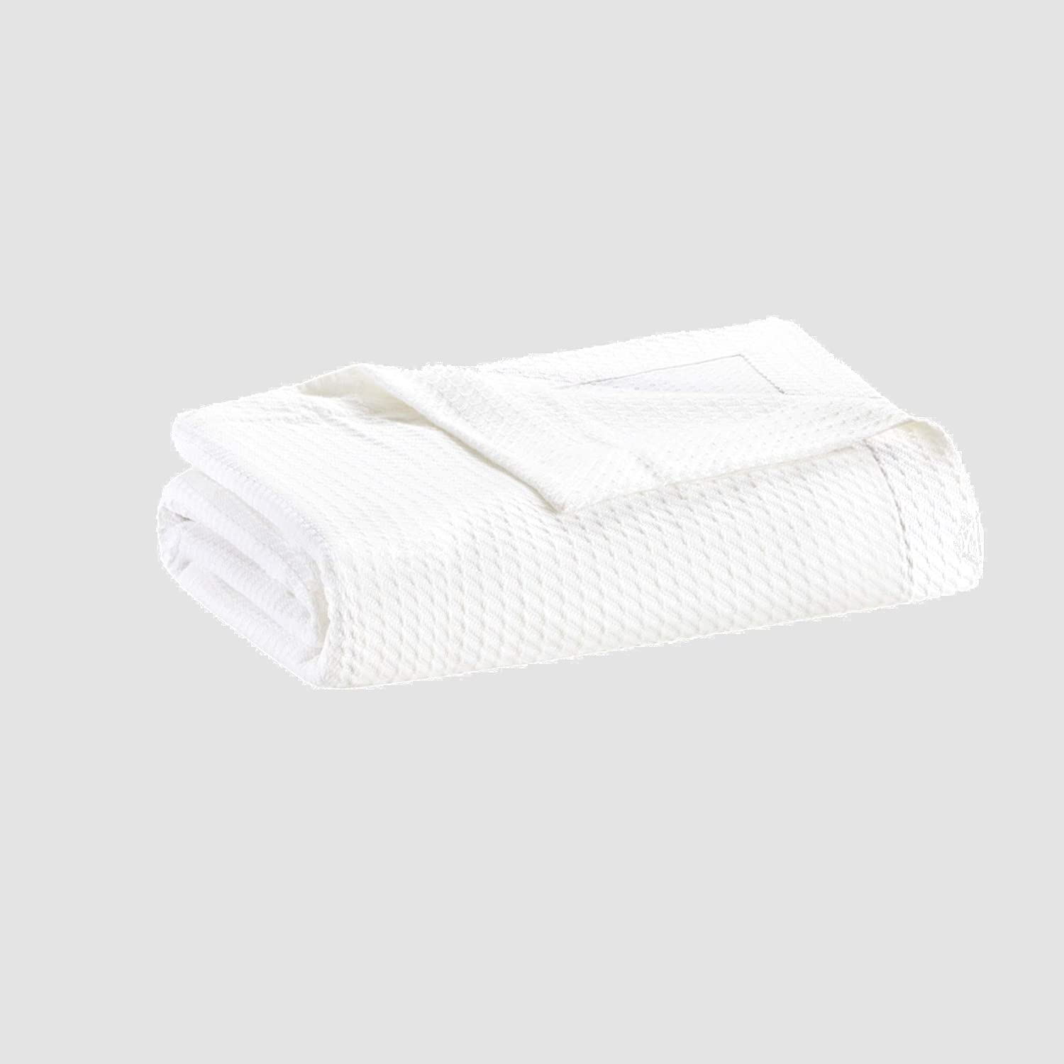 Madison Park Egyptian Cotton Luxury Blanket White 90x90 Full/Queen Size Knit Premium Soft Cozy 100% Cerified Egyptian Cotton For Bed, Couch or Sofa