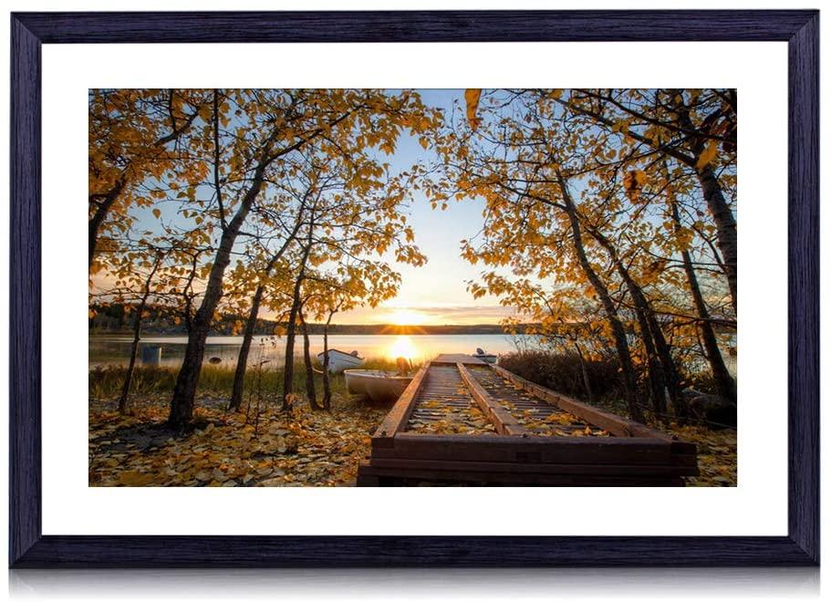 GLITZFAS Art Print Black Wood Framed(Bridge Boats Autumn) Wall Art Picture for Home Decoration 24x16 Inches