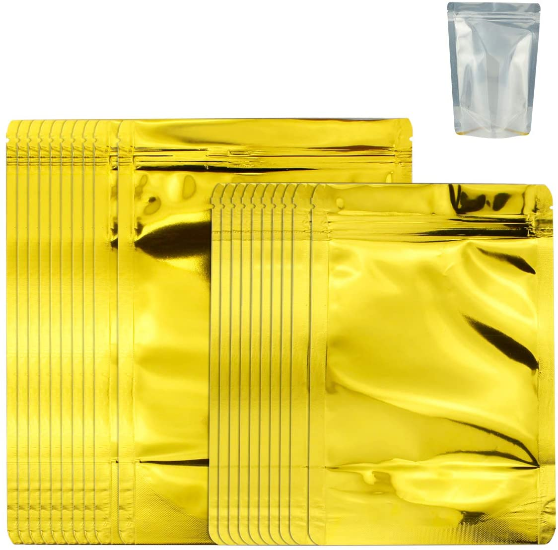 Mylar Bags Resealable Ziplock Stand Up Food Storage Aluminum Foil Bags 20 Pack Thickened Reusable Pouches 2 Different Sizes for Beans Coffee Cookie Snack Food Dried Flowers Tea-Golden