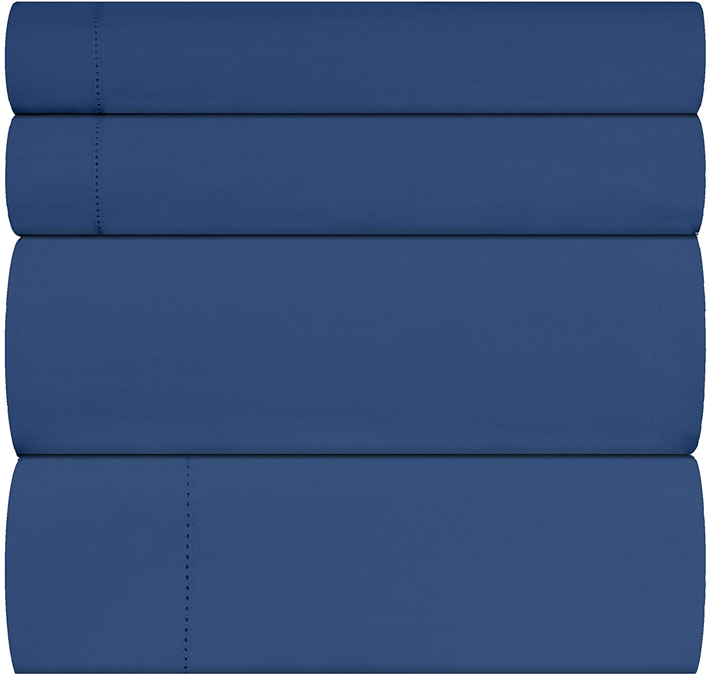 Infinite Weaves 4 Piece Queen Size Bed Sheet Set - 300 Thread Count Ultra-Soft 100% Cotton Sateen Weave Bedding Set - Deep Pockets, Luxurious, Hypoallergenic & Fade Resistant - 4 PC (Queen, Blue)