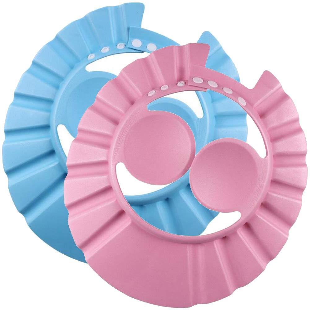 2PK Children Shower Cap with Ear Protection Adjustable Bathing Cap Shampoo Bathing Hat Infants Funny Soft Safe Visor Cap Wash Hair Shield Bath Accessories for Toddler Baby Children Kids
