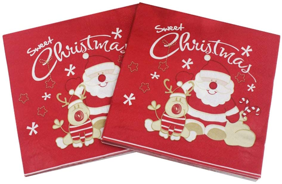 AMOSFUN Christmas Printed Napkins Santa Claus Pattern Disposable Paper Napkins Elk Wood Pulp Tissue for Christmas Holidays Dinner Party Decoration 40pcs
